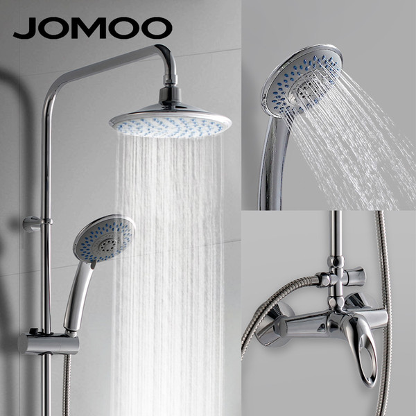 JOMOO Rain Shower Head Set Chrome 9-inch 4.8-inch with Slide Bar and Shower Faucet Mixer and hose