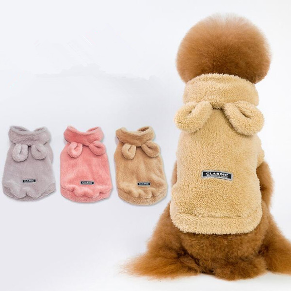 3 Colors 5 Size Dog Sherpa Pullover Clothes Costume Bear Ear Pet Clothes Double-faced Pile Teddy Poodle Warm Dog Apparel CCA10563 30pcs