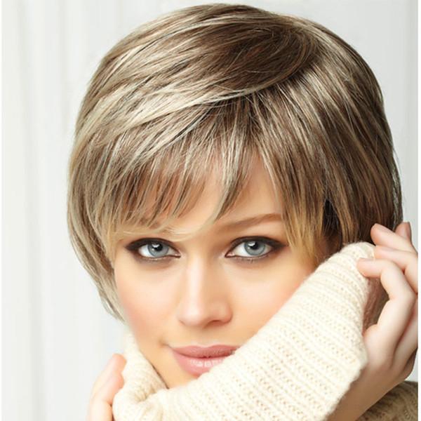 Bild Farbe Haar Afro Kurze Haare schneidet blonde Bob Perücke Fluffy Mode-Mix mit Pony Straight Synthetic Afroamerikaner Perücken für Frauen