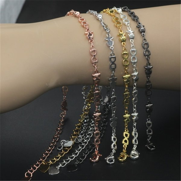 BoYuTe 5 Pieces Pure Brass Material 5 Colors Plated Handmade Chain Link Bracelet Women Jewelry Findings & Components