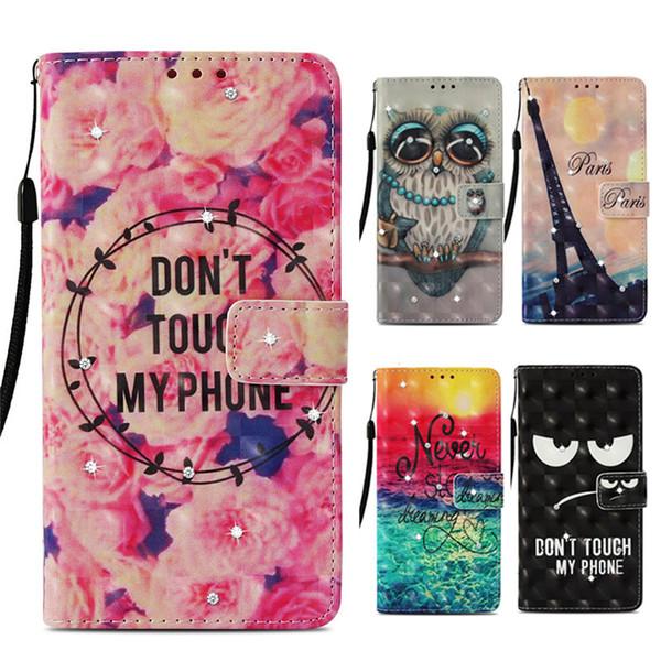 Fashion Designer Étuis de portefeuille pour iPhone XR XS Max 7 8Plus Bling Diamant Flip Cover Kickstand Case pour Samsung Galaxy Note 9 S8