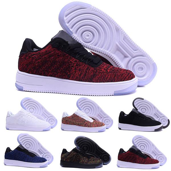on sale d83e3 948fd Compre Nike Air Force One 1 Flyknit One Af1 Flyknit Low Nueva Línea De La  Mosca Del Estilo Hombres Mujeres High Low Amante Skateboard Shoes 1 One  Knit Eur ...