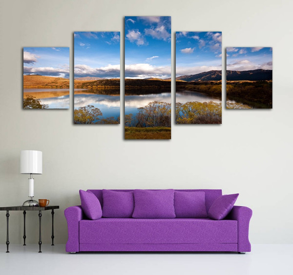 No Frame 5 Pieces Lake Landscape Canvas Print Painting Modern Home Decoration Wall Art HD Printed Pictures for Living Room