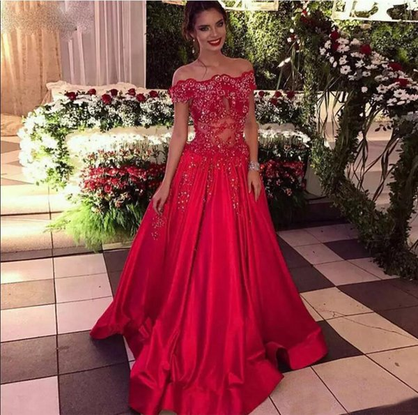 Red Beaded Appliques Satin 2019 Prom Dresses Portrait Neckline Formal Party Gowns See Through Sequins Pageant Evening Dresses Sweep Train