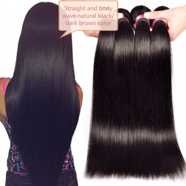 Pelo Virginal brasileño Onda del cuerpo Recto 3 Paquetes / lote Sin procesar Natural Negro Marrón Oscuro Color Doble Tramas Extensiones de cabello armadura del pelo