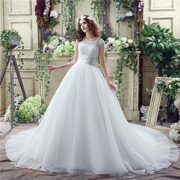 Eine Linie perfekte Gürtel Robe De Mariage trägerlosen Lace Up Brautkleider heißer Verkauf Ballkleid Vestido De Noiva 30263