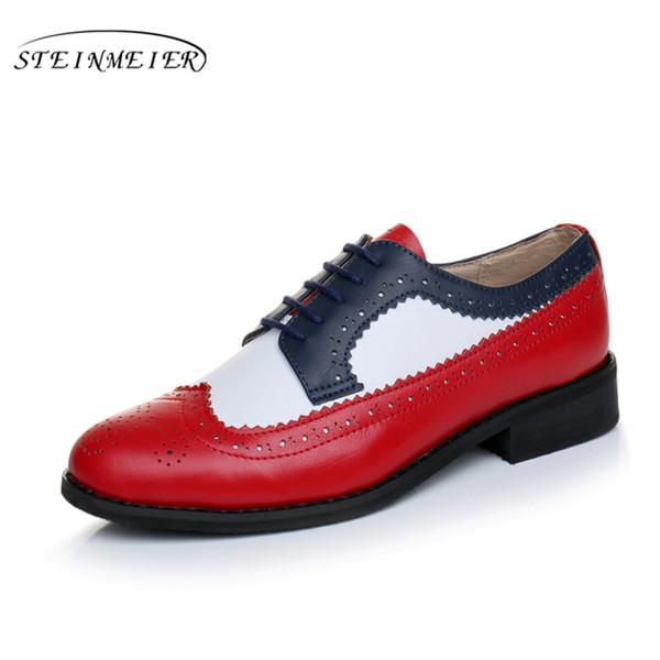 femmes chaussures en cuir véritable oxford à la main bleu rouge blanc sping vintage plat style britannique chaussures oxfords pour les femmes à fourrure