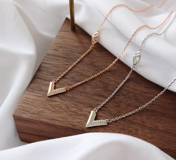 V style 925 sterling silver zircon necklace for women high quality pave setting pendant with chain fashion accessory for girl with factory p