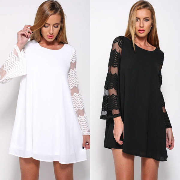 women's autumn large size round neck mesh long sleeve dress for women female lady dresses