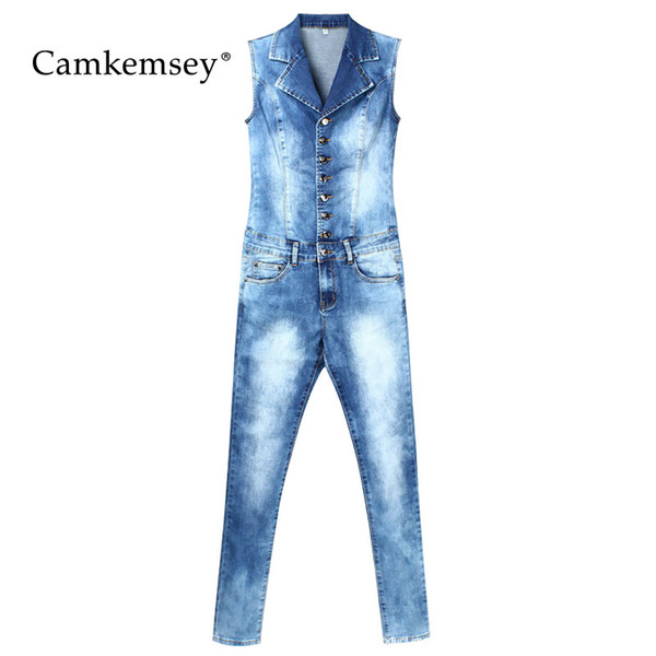 CamKemsey Women Jumpsuit 2018 Sexy Bodycon Stretch Skinny Denim Jumpsuit Female Sleeveless Blue Jean Overalls Rompers