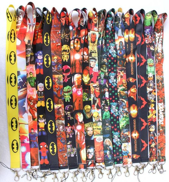 top popular 300PCS Avengers Spider-Man Iron Man Justice League superman Batman mixed pattern phone Lanyards keys ID neck straps fast shipping 2019