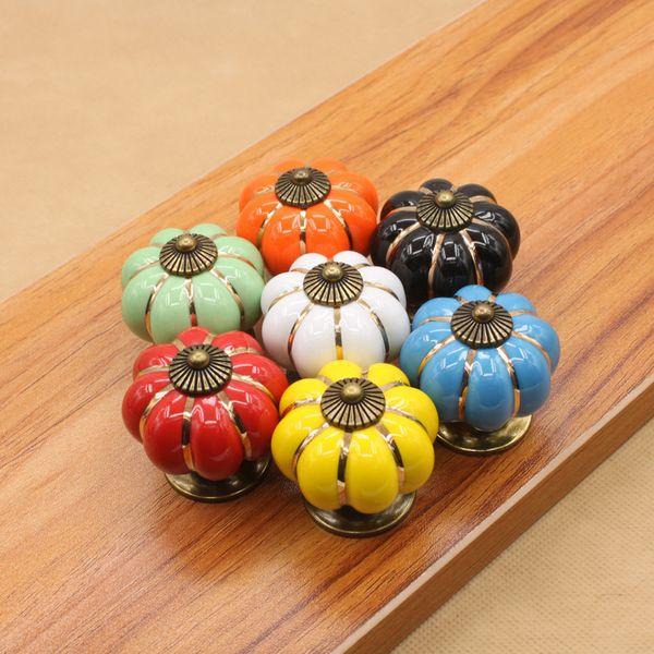 best selling 7 Colors Pumpkins Kitchen Cabinets Knobs Bedroom Cupboard Drawers Ceramic Door Pull Handles With Screws 4*4*4 cm