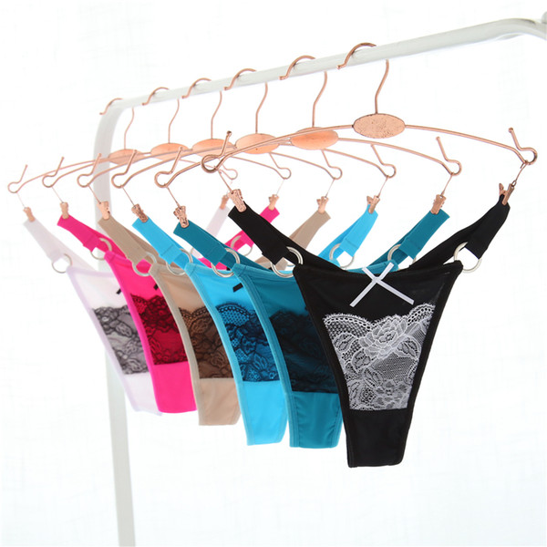 6pcs/lot M L XL T Back Nylon Women Underwar Sexy Lace Panties Ring G String Briefs