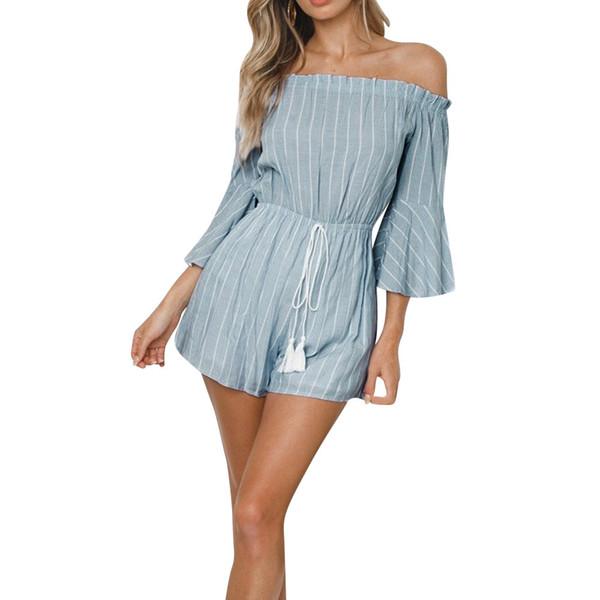 2018 Fashion Women's Slash Neckline Stripe Print Off Shoulder Casual Bandages Long Sleeve Mini High Quality Jumpsuit For Women