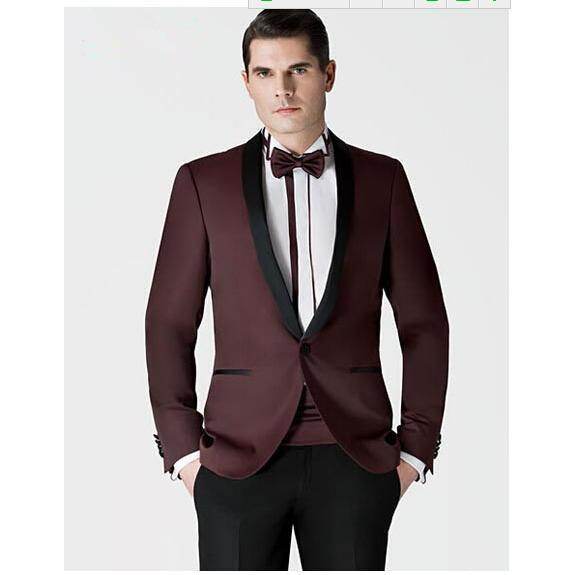 Customize Fashion mens Custom made Wine Red New Groom suits Assorted colors Formal Occasion men's suits ( jacket+Pants+tie)