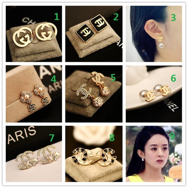 Wholesale prices! HOT! Brand 14K Gold Silver Stud Earrings Pearl Diamond Pendant Letter Logo Jewelry Party Gift Box AAA6