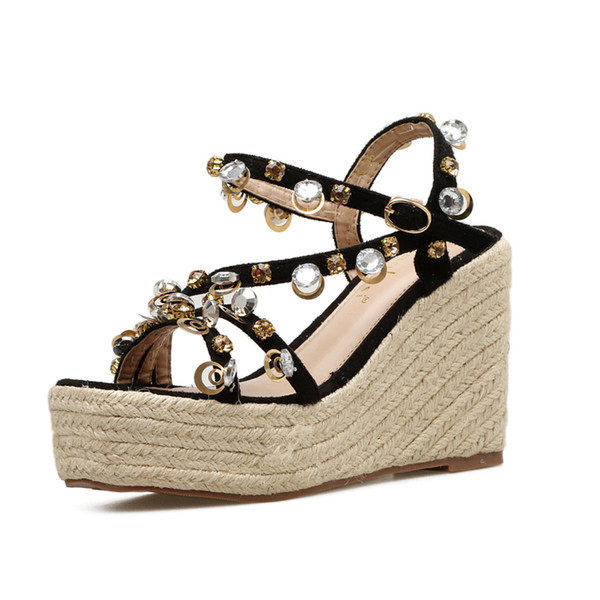 f06754690207a Fashion Rope Braided Wedge Sandal Summer Newest Women High Heel Sandals  Platform Bling Crystal Thick Heels Shoes