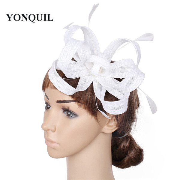 NEW ARRIVAL 17 colors imitation sinamay fascinator hats white cocktail hat bridal wedding headwear beauty black Derby hair accessories SYF52