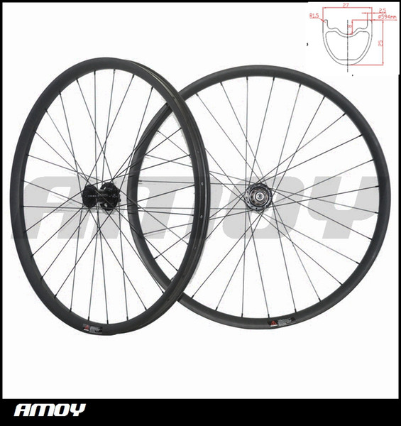 27.5er MTB XC race 27mm wide offset Mountain Bike Carbon racing Wheel set