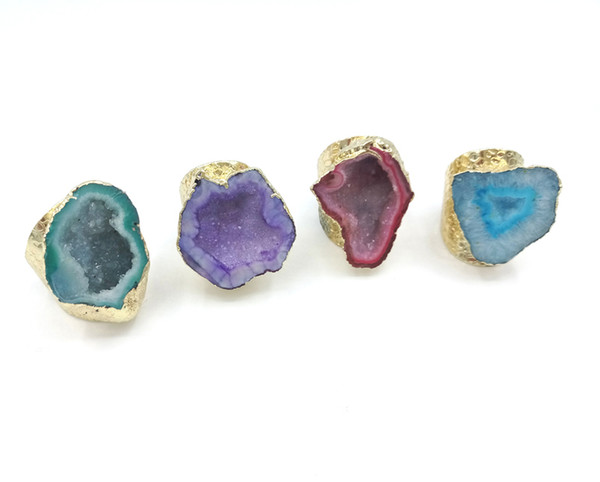 best selling JLN Agate Geode Ring Free Size Royal Blue Sparkly Druzy Hollow Agate Gemstone Statement Gold Ring For Man And Woman