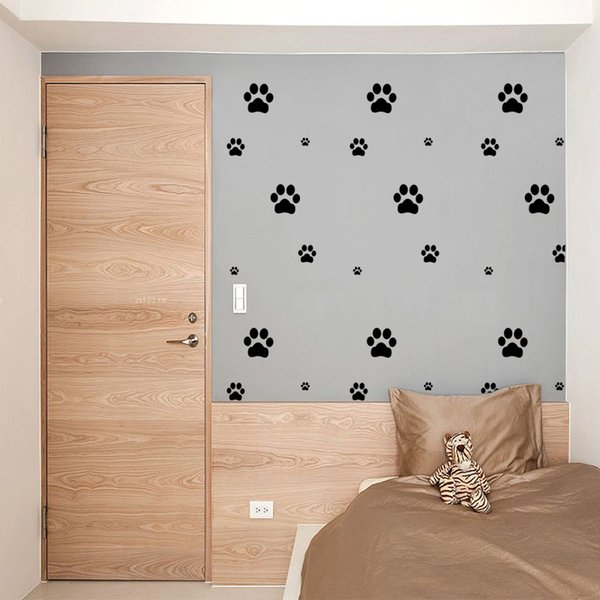 DIY Funny Cartoon Animal Footprints Wall Stickers Cat Dog Paws Sticker Kids Room DIY Decoration Home Decor Furniture Cabinets Decal