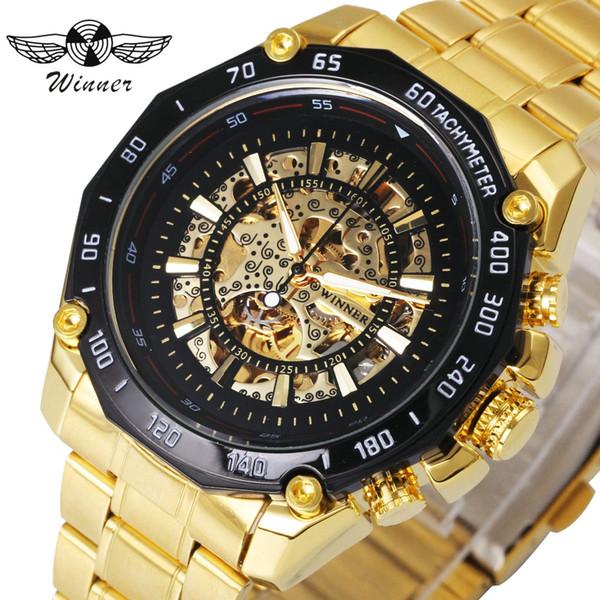 WINNER Men Watches Top Brand Luxury Auto Mechanical Golden Skeleton Dial Stainless Steel Strap Steampunk Tachymetre Wrist Watch