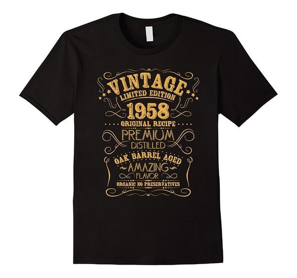 Vintage 1958 60Th Birthday Shirt Grunge Distressed Gift Tee Men Cotton T-Shirt 100% Cotton T Shirts Brand Clothing Tops Tees