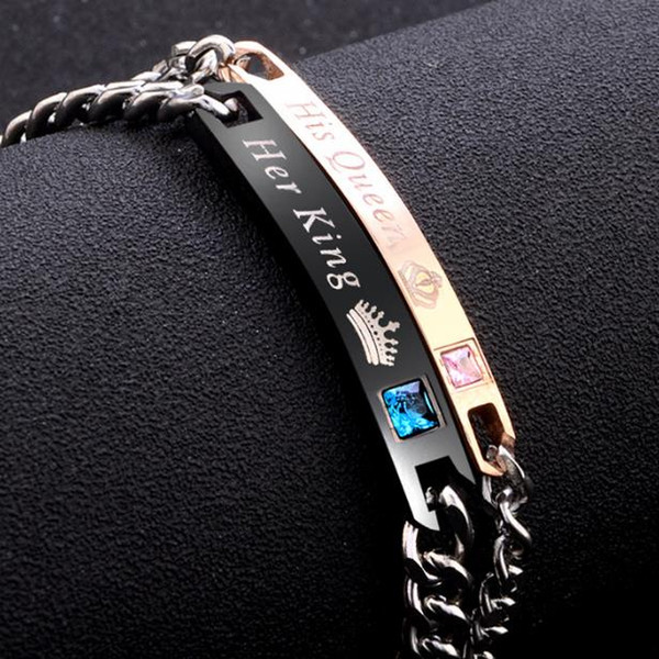 Simple and fashionable couple bracelet bracelet for fashionable men and women alloy bracelet his queen her king