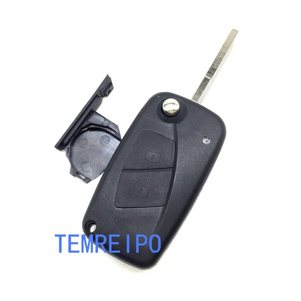2 Buttons Flip Remote Key Case Shell fit with battery holder on side cover for fiat black color