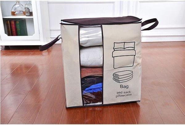 Non-woven Portable Clothes Storage Bag Organizer Folding Closet Organizer For Pillow Quilt Blanket Bedding Top Quality bags freeshipping