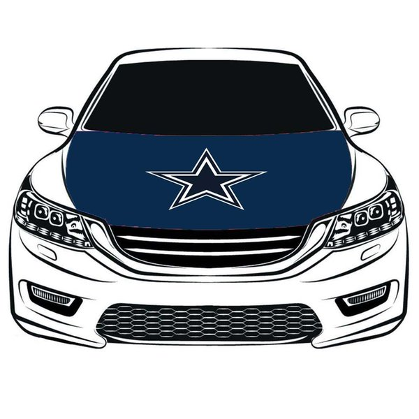 Bandiera Cowboys Hood Cover, 100% elastan, tessuto a quattro lati, bandiera del motore di Bonnet Banner