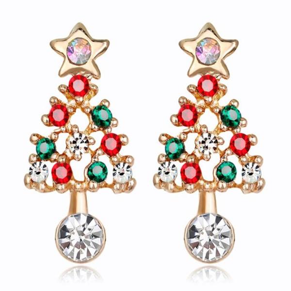 Neue europäische und amerikanische vorzügliche Weihnachtsfeiertagsgeschenke Weihnachtsbaumfarbdiamant-Luxuxtemperament-Damenohrringe
