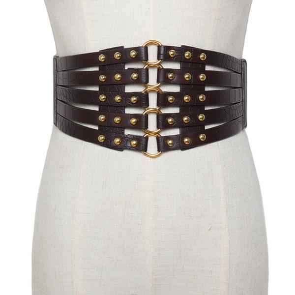 New Women cinturino in metallo elasticizzato con cinturino largo in pelle cava donna argento Circle cinturino in multistrato con fibbia vintage Cinturino in pelle con fibbia