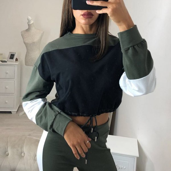 Vertvie 2018 Spor Koşu Setleri Spor Takım Elbise Sonbahar Kadın Dantel-Up Spor Takım Elbise Dikiş Kontrast Renk Moda Ince Rahat Suit