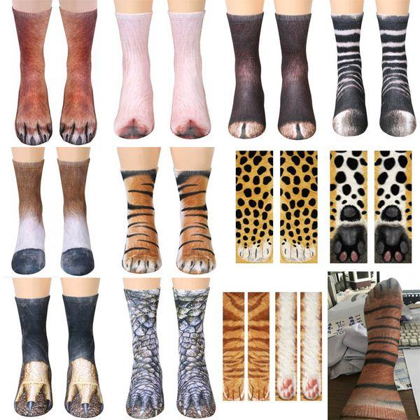 3D Tier Fuß Huf Socken Baumwolle Cosplay Printed Katze Hund Tiger Pfote Füße Socken Für Erwachsene Kinder Weihnachten Hause Warme Strumpf Geschenke WX9-822