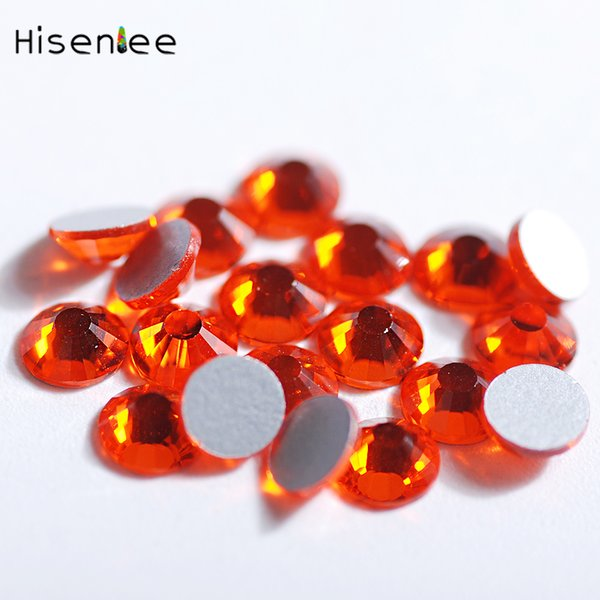 Orange Red Color Fashion Full Size Rhein Flat Bottom Round Glass Design Super Shiny Nail Art Jewelry Clothing Decoration Tools