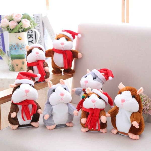 Christmas Version Talking Hamster Mouse Pet Plush Toy Cute Speak Talking Sound Record Hamster Educational Animal Toys