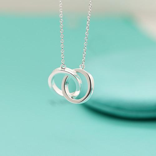 American t s925 Sterling Silver Necklace women forever love 1837 new york chain fashion brand wedding party hollow two circle Necklaces