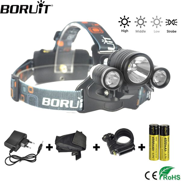 BORUiT 4-Mode IPX6 Waterproof Headlight RJ-1155 XML T6 R2 LED Headlamp Bicycle Light Head Torch Camping Hunting Frontal Lantern