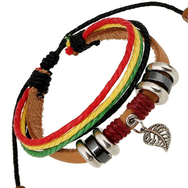 multilayer bracelet 2018 Hamsa Hand Bracelets for Men Women Fashion Wristband Female Leather Bracelet Leaves Vintage Punk Men Jewelry