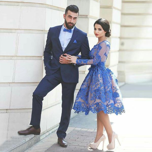 Navy Blue Men Suits Wedding Suits Groom Wear Evening Dress Notched Lapel Casual Tuxedo Custom Slim Fit Best Man Blazer Prom Jacket Pants