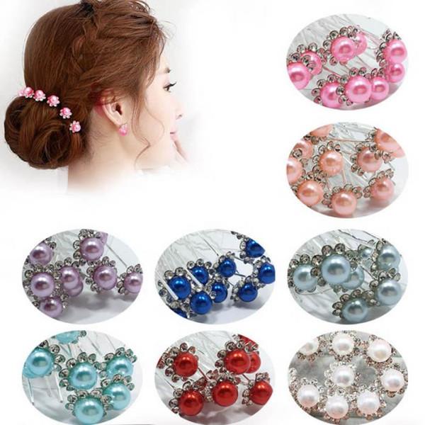 10 Pcs / Set Mariée Cheveux Broches Perles Strass De Mariage De Mariée Fleur Épingles à cheveux Clip Grips Femmes Dames Filles Cheveux Accessoires