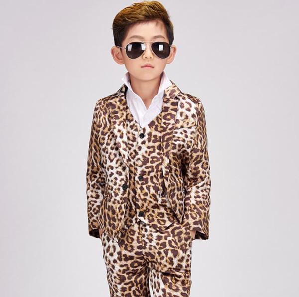 Singer stage Leopard clothing for men son suit set with pants 2018 mens pringting suits child costume formal dress vest fashion