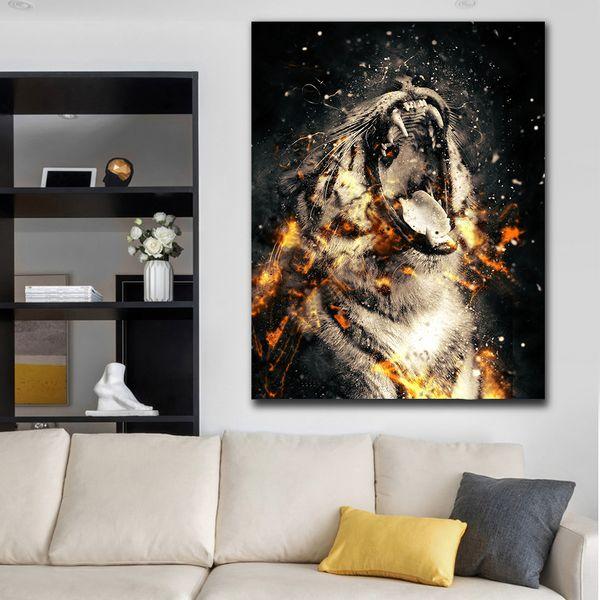 1 Stücke Wütend Tiger Porträt In Fire Wall Poster Tiere HD Leinwand Ölgemälde Für Wohnkultur Wohnzimmer Kein Gestaltet
