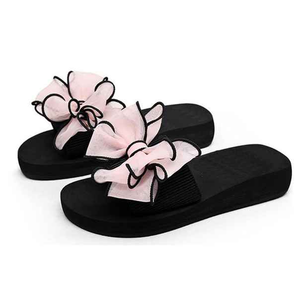 Nice Bow Thong Jelly Shoes Woman Jelly Flip Flops Women Sandals Ladies Flat Slippers Zapatos Mujer Sapatos Femininos B1