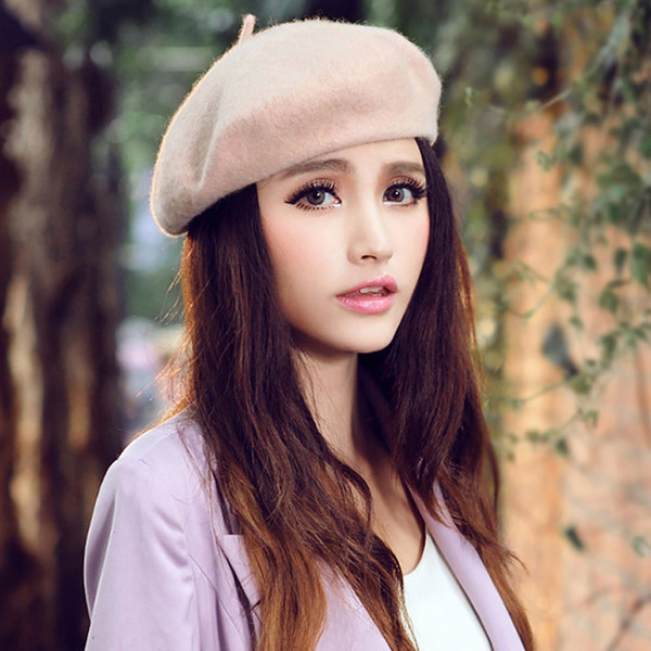a3fbb8b23b66 Classic Solid Color Winter French Style Beret Artist Hat Casual Women Cap  Gift Y18110503