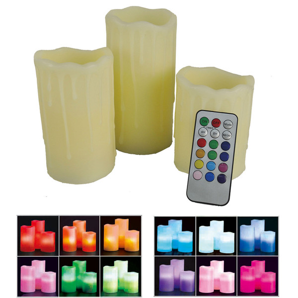 3 Pack Drip Effect Colour Changing Flameless Wax Mood Candles W// Remote Control