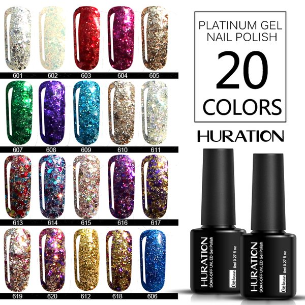 Huration 8ML Gel Nail Manicure Gold Diamond Glitter Need To Dry By UV LED Lamp Gel Varnish Soak Off Nail Art Shimmer Lacquer