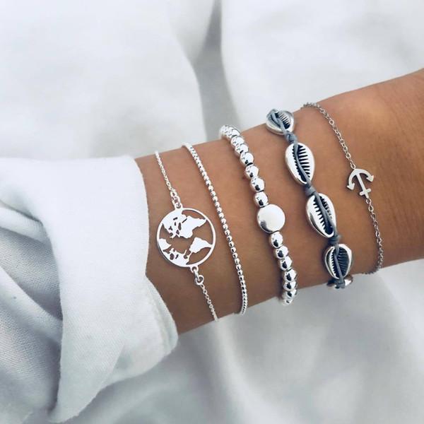 Accesorios de moda hechos a mano tejido cuerda cadena abalorios cuentas mapa de ancla 5 piezas set Pulseras para las mujeres joyas brazalete de regalo