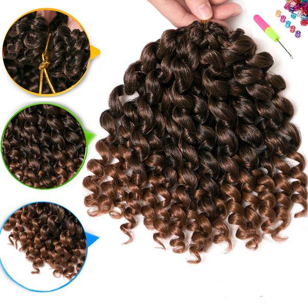 VERVES Jumpy Wand 8 Zoll Crochet Hair Crochet Braids Haarverlängerungen Ombre Kanekalon Flechten Haar Jamaican Bounce Curl